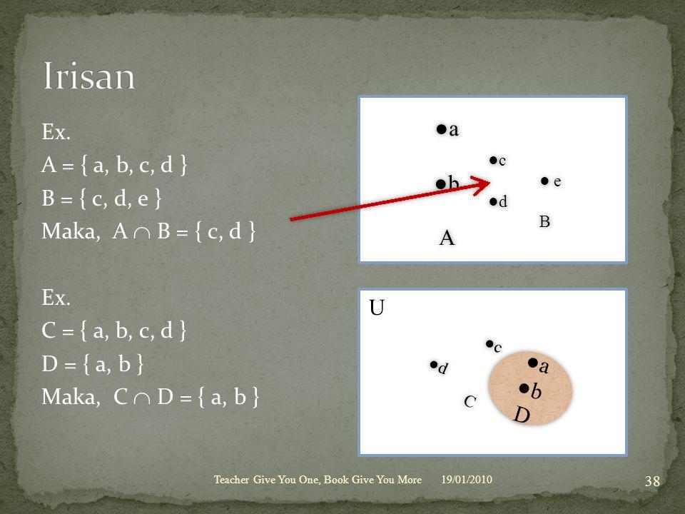 Irisan U Ex. ●a A = { a, b, c, d } ●b B = { c, d, e }