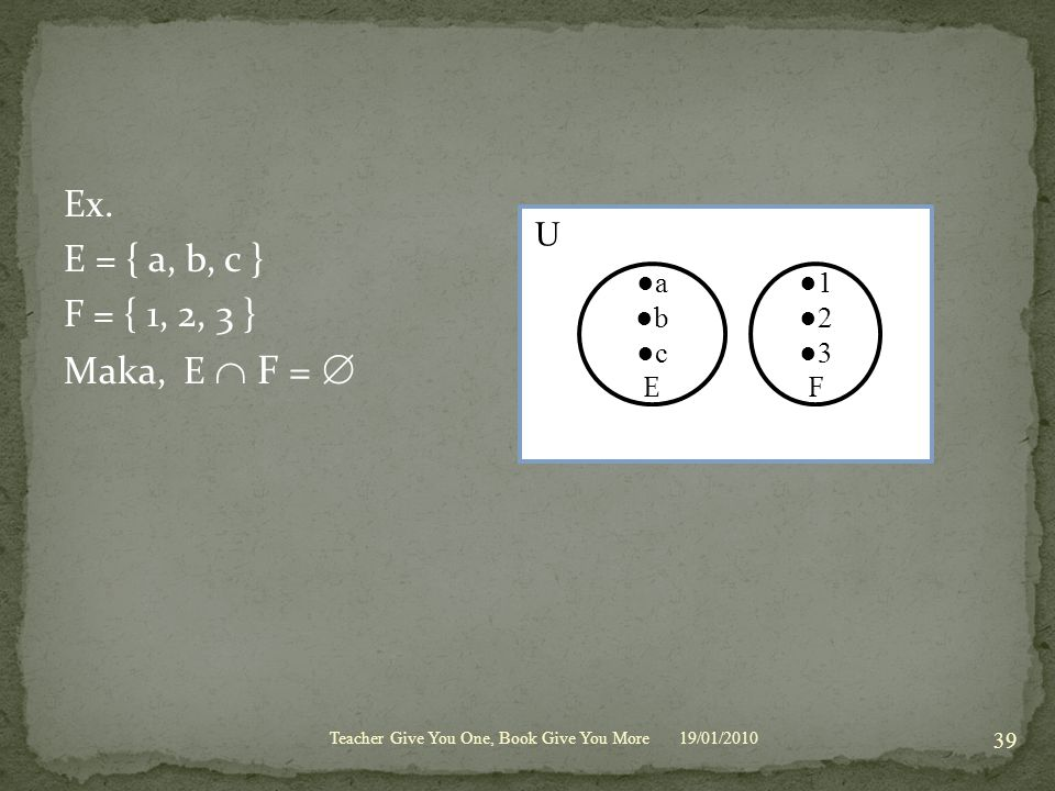 Ex. E = { a, b, c } F = { 1, 2, 3 } Maka, E  F =  U ●a ●b ●c E ●1 ●2