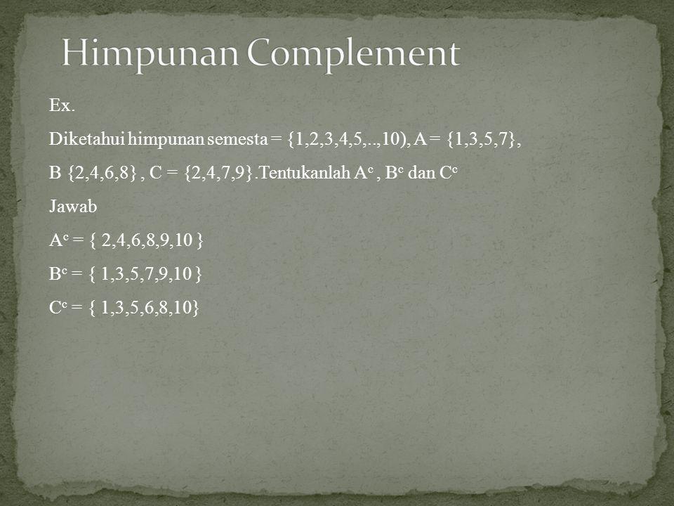Himpunan Complement Ex.
