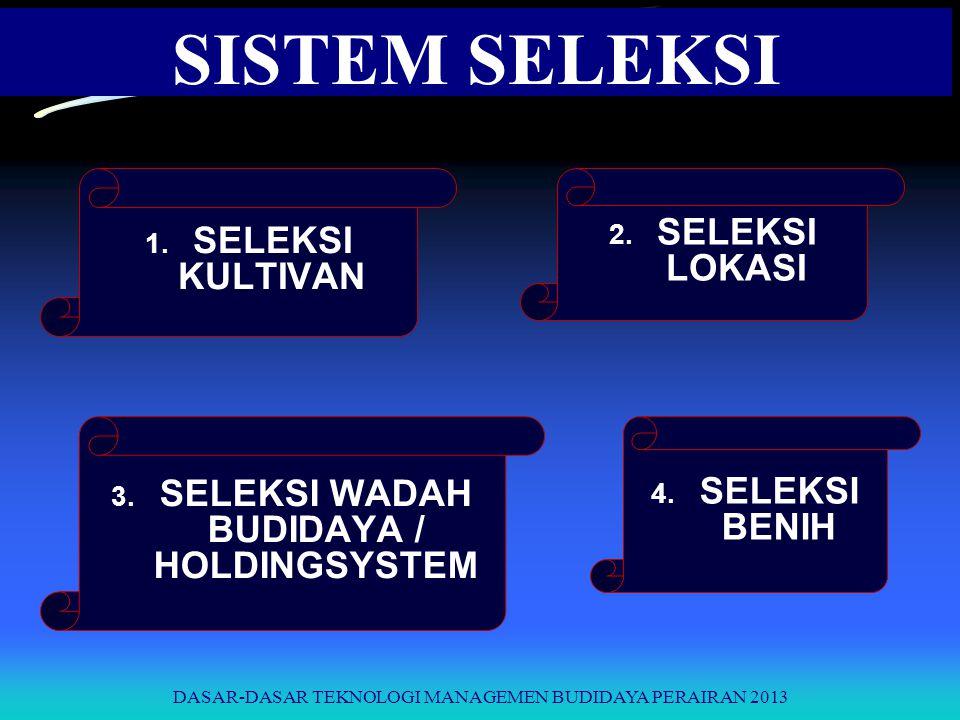 SELEKSI WADAH BUDIDAYA / HOLDINGSYSTEM