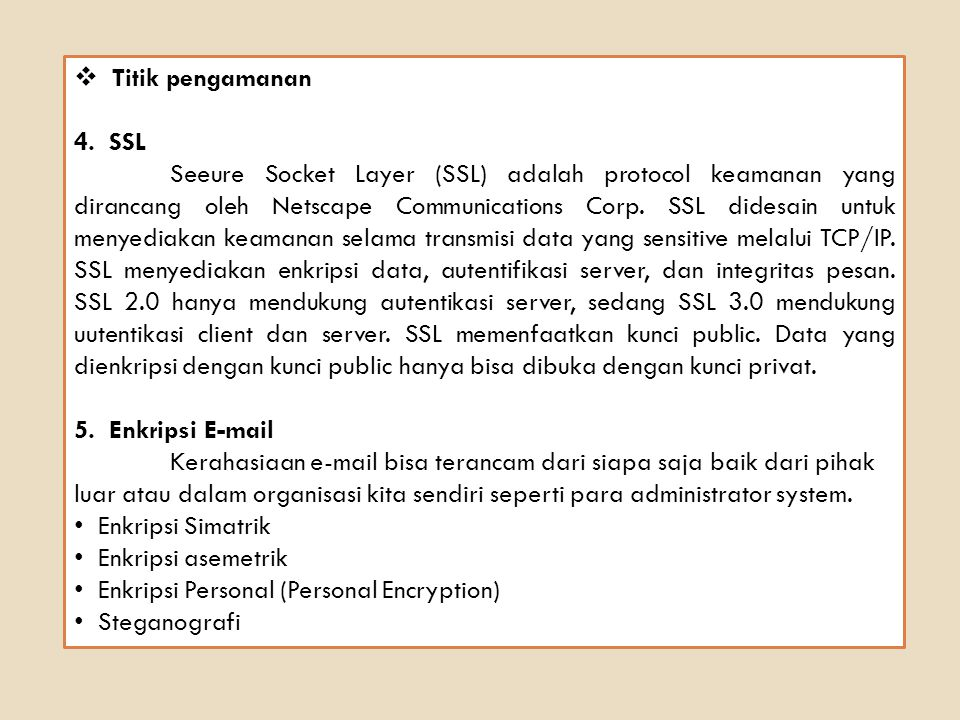 Titik pengamanan 4. SSL.