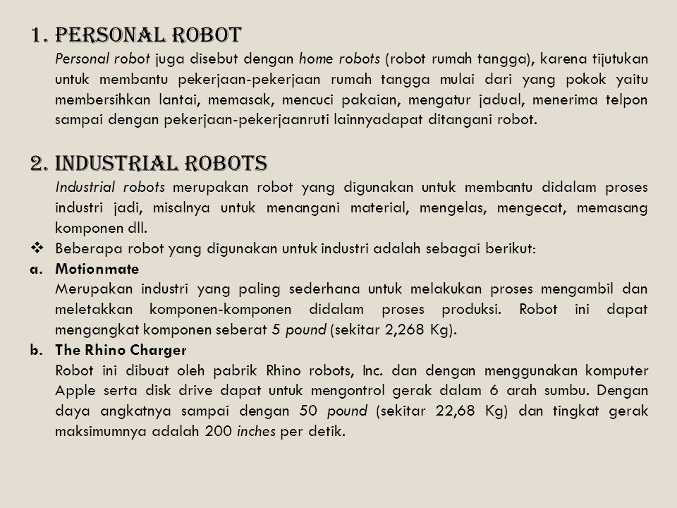 Personal Robot Industrial Robots