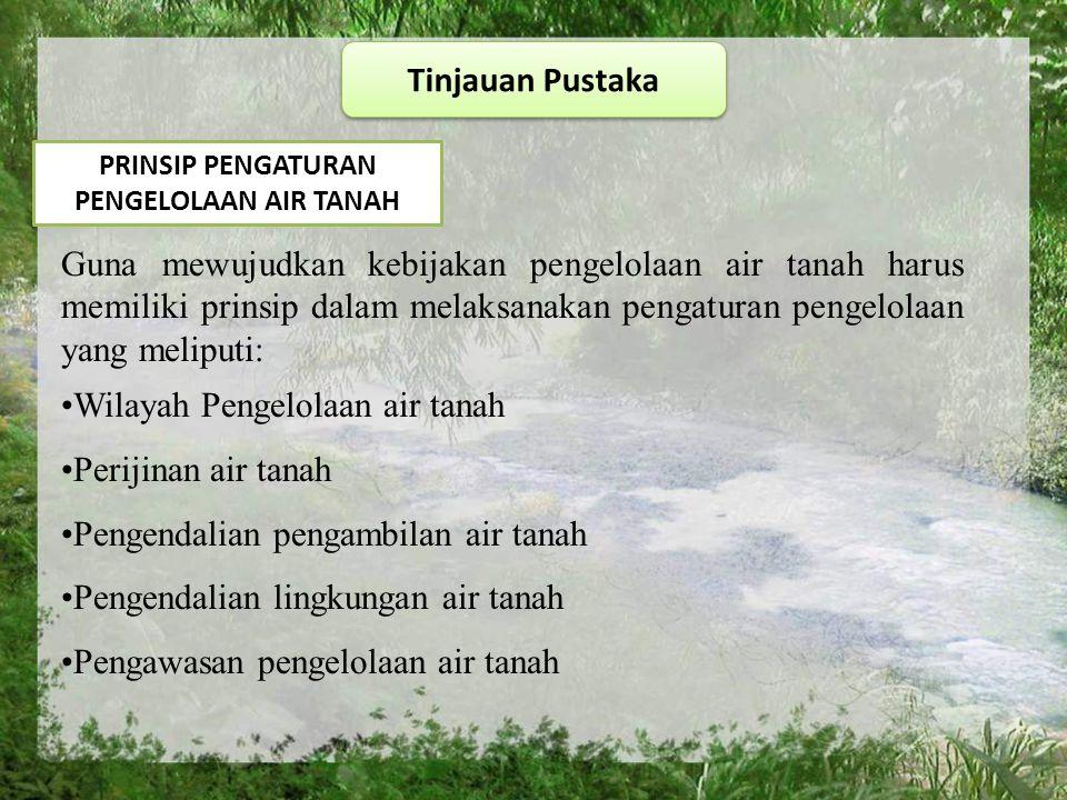 PRINSIP PENGATURAN PENGELOLAAN AIR TANAH