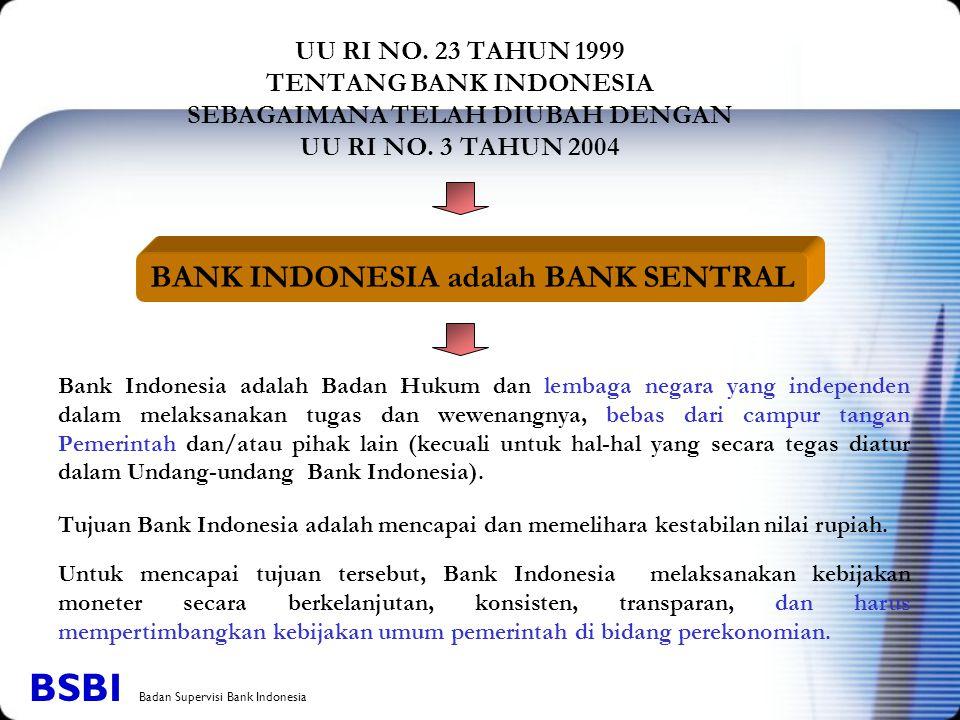 BANK INDONESIA adalah BANK SENTRAL