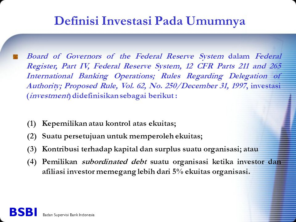 Definisi Investasi Pada Umumnya