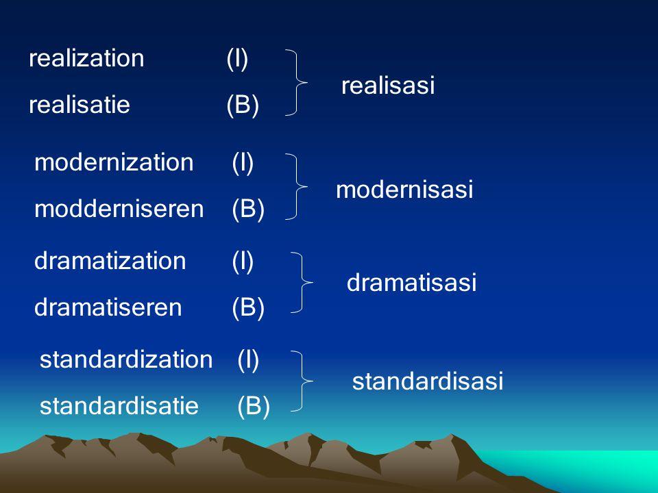 realization (I) realisatie (B) realisasi. modernization (I) modderniseren (B) modernisasi. dramatization (I)