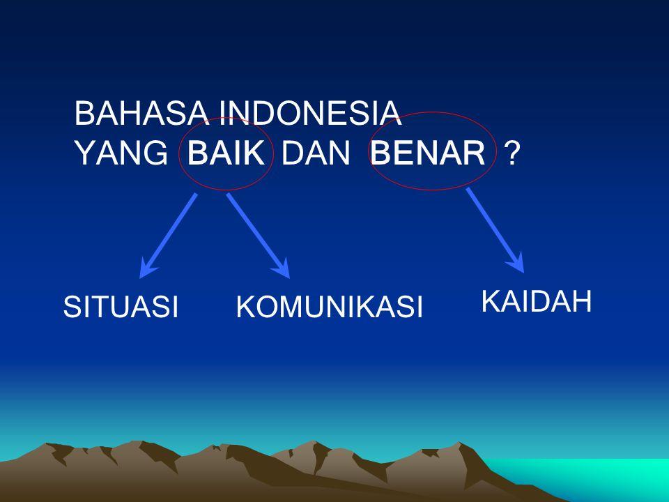 BAHASA INDONESIA YANG BAIK DAN BENAR KAIDAH SITUASI KOMUNIKASI