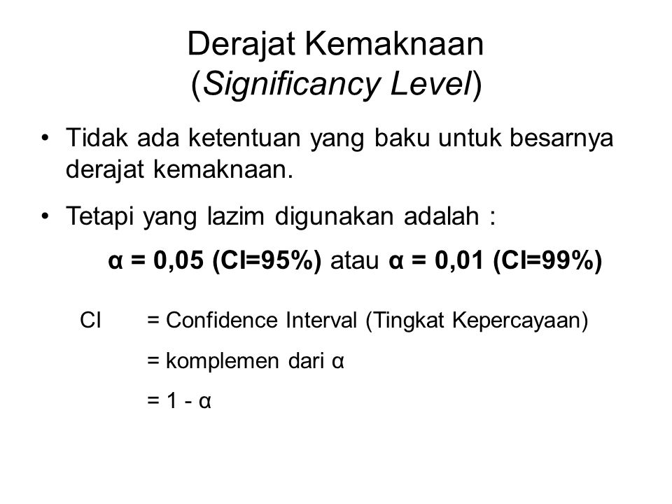 Derajat Kemaknaan (Significancy Level)