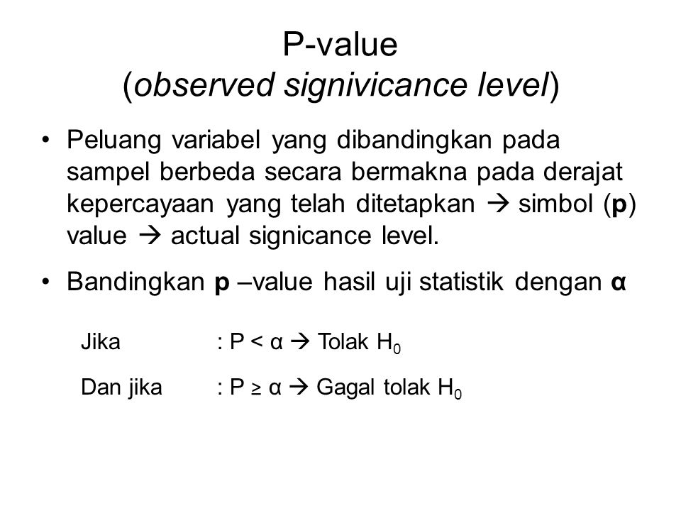 P-value (observed signivicance level)