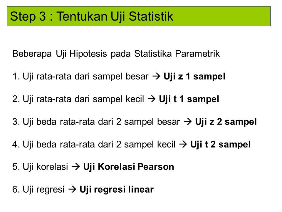 Step 3 : Tentukan Uji Statistik