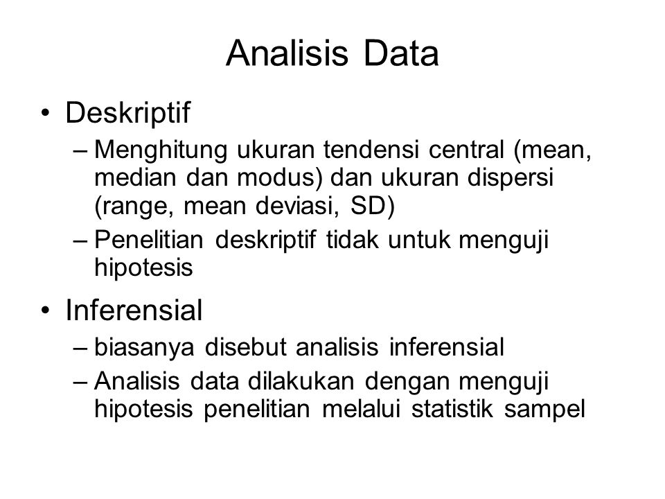 Analisis Data Deskriptif Inferensial