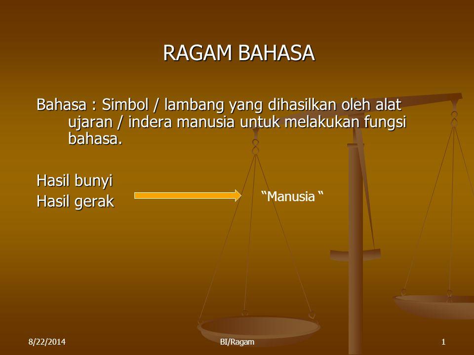 RAGAM BAHASA Bahasa : Simbol / lambang yang dihasilkan oleh alat ujaran / indera manusia untuk melakukan fungsi bahasa.