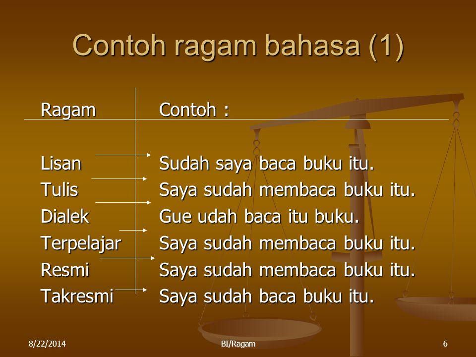 Contoh ragam bahasa (1) Ragam Lisan Tulis Dialek Terpelajar Resmi