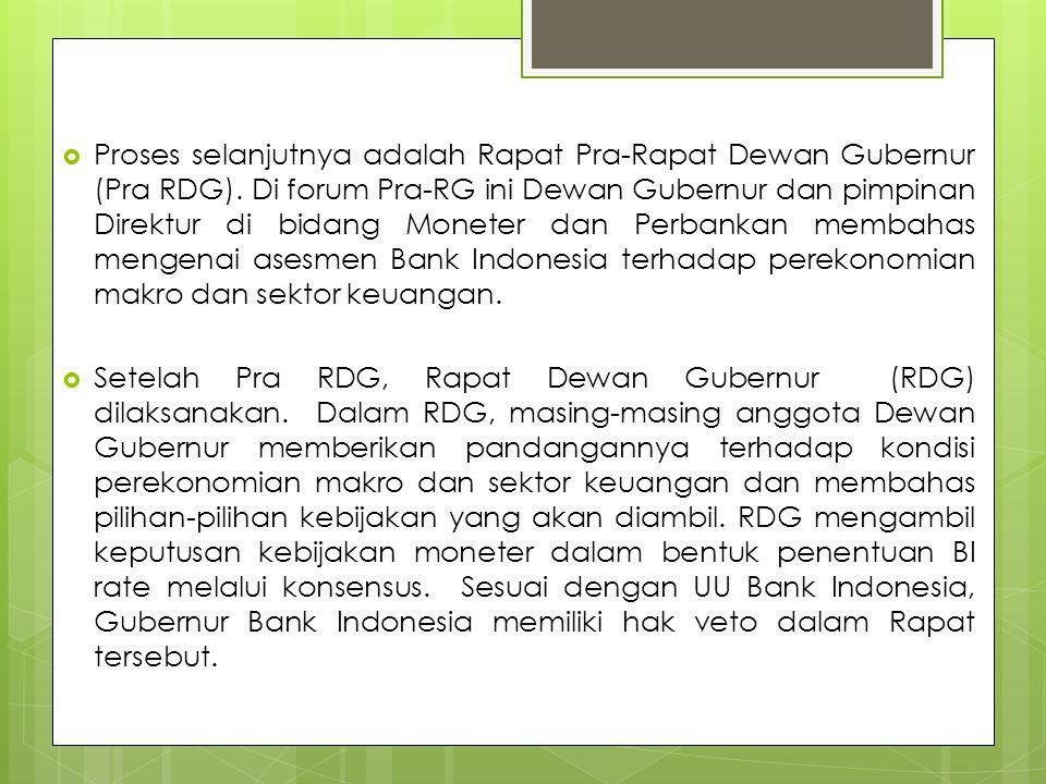 Proses selanjutnya adalah Rapat Pra-Rapat Dewan Gubernur (Pra RDG)
