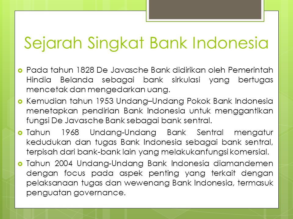 Sejarah Singkat Bank Indonesia