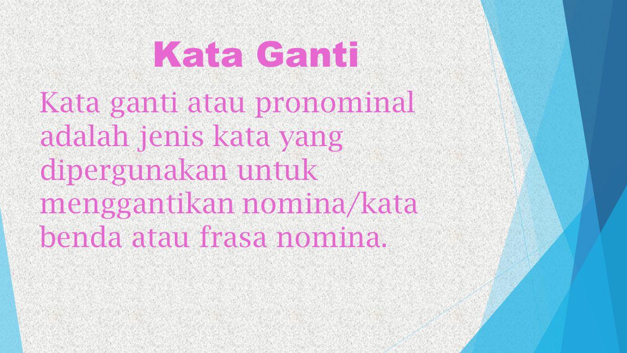 Kata Ganti Kata ganti atau pronominal adalah jenis kata yang dipergunakan untuk menggantikan nomina/kata benda atau frasa nomina.