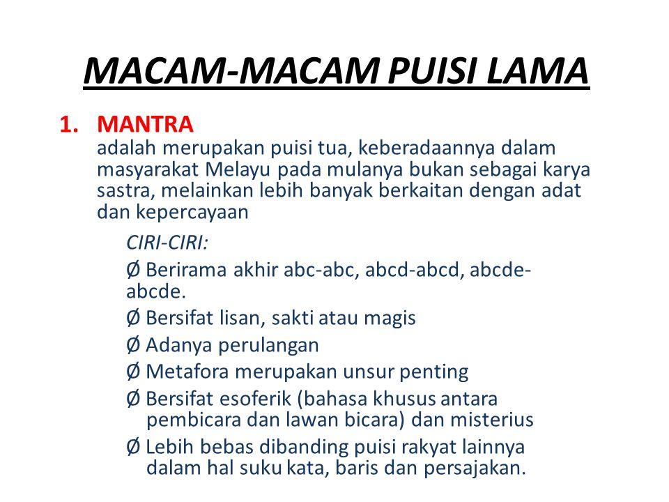 MACAM-MACAM PUISI LAMA