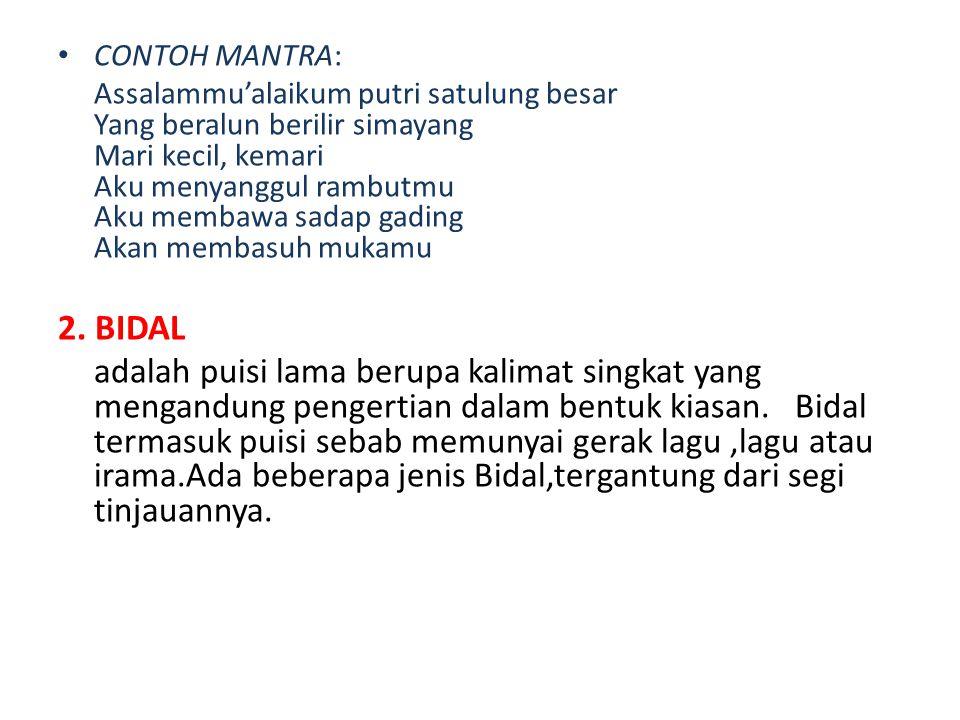 CONTOH MANTRA: