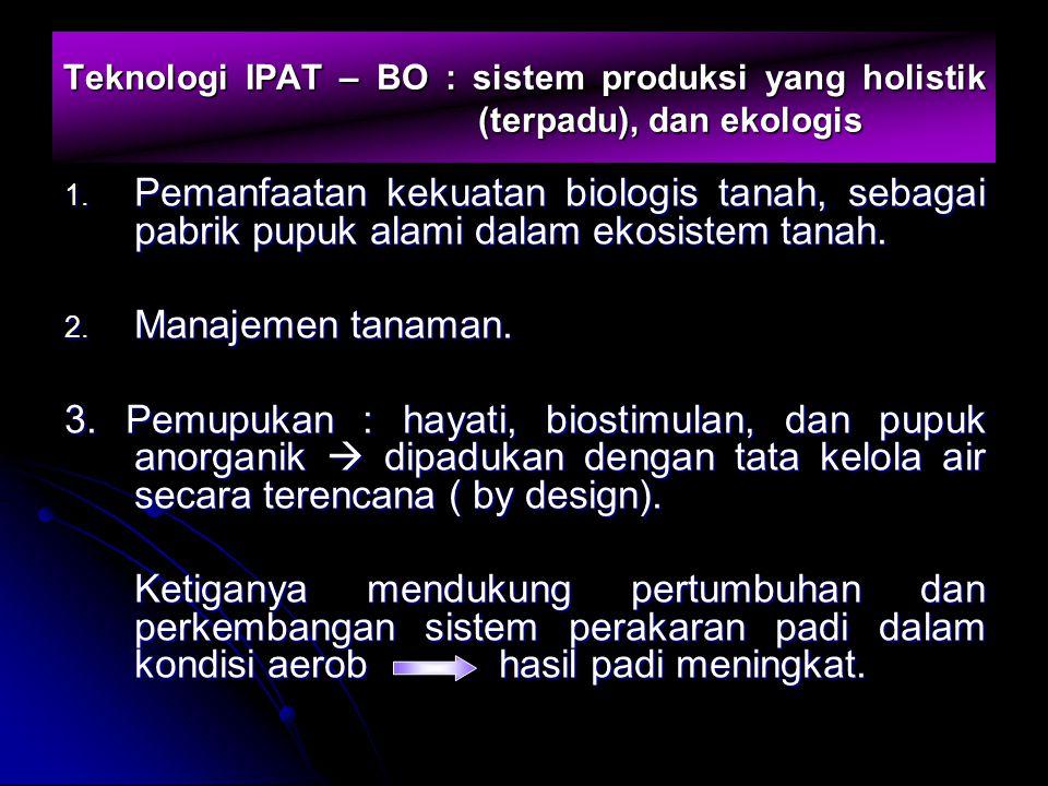 Teknologi IPAT – BO : sistem produksi yang holistik (terpadu), dan ekologis