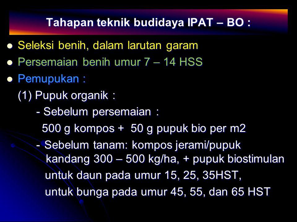Tahapan teknik budidaya IPAT – BO :