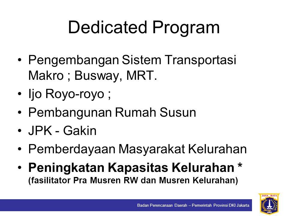 Dedicated Program Pengembangan Sistem Transportasi Makro ; Busway, MRT. Ijo Royo-royo ; Pembangunan Rumah Susun.