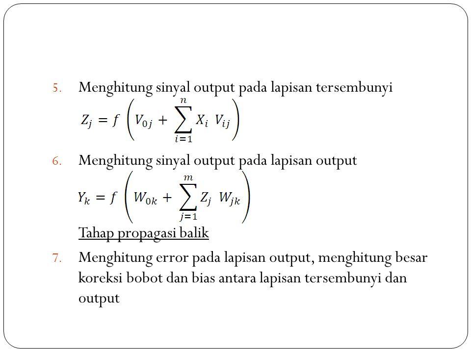 Menghitung sinyal output pada lapisan tersembunyi