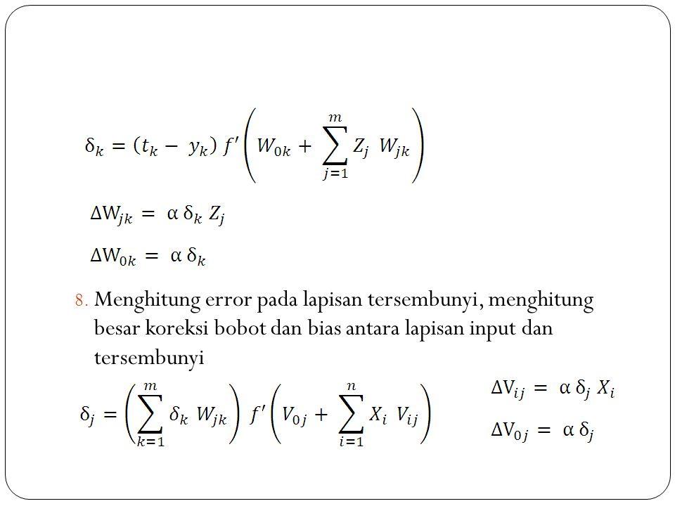 Menghitung error pada lapisan tersembunyi, menghitung besar koreksi bobot dan bias antara lapisan input dan tersembunyi