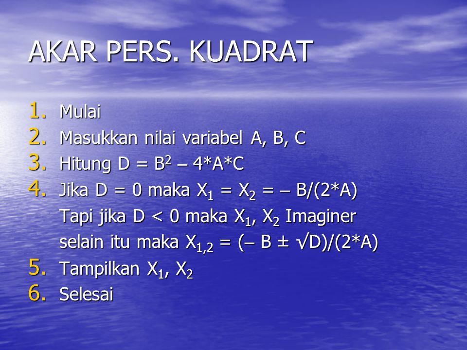 AKAR PERS. KUADRAT Mulai Masukkan nilai variabel A, B, C