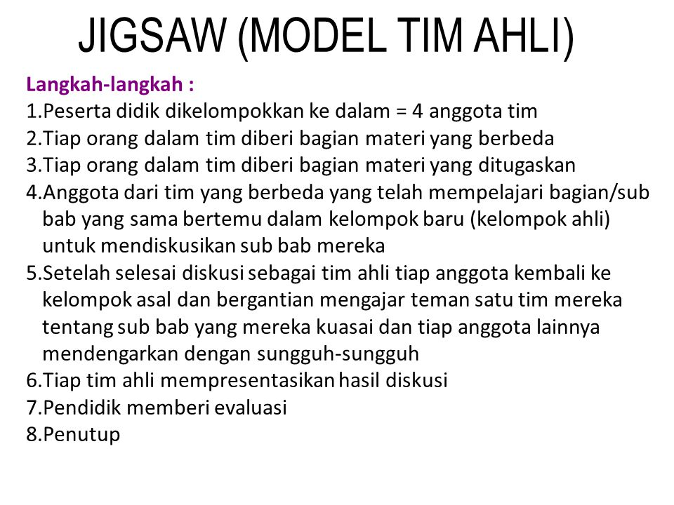 JIGSAW (MODEL TIM AHLI)