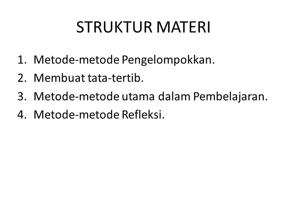 STRUKTUR MATERI Metode-metode Pengelompokkan. Membuat tata-tertib.