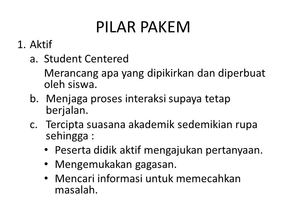 PILAR PAKEM Aktif Student Centered