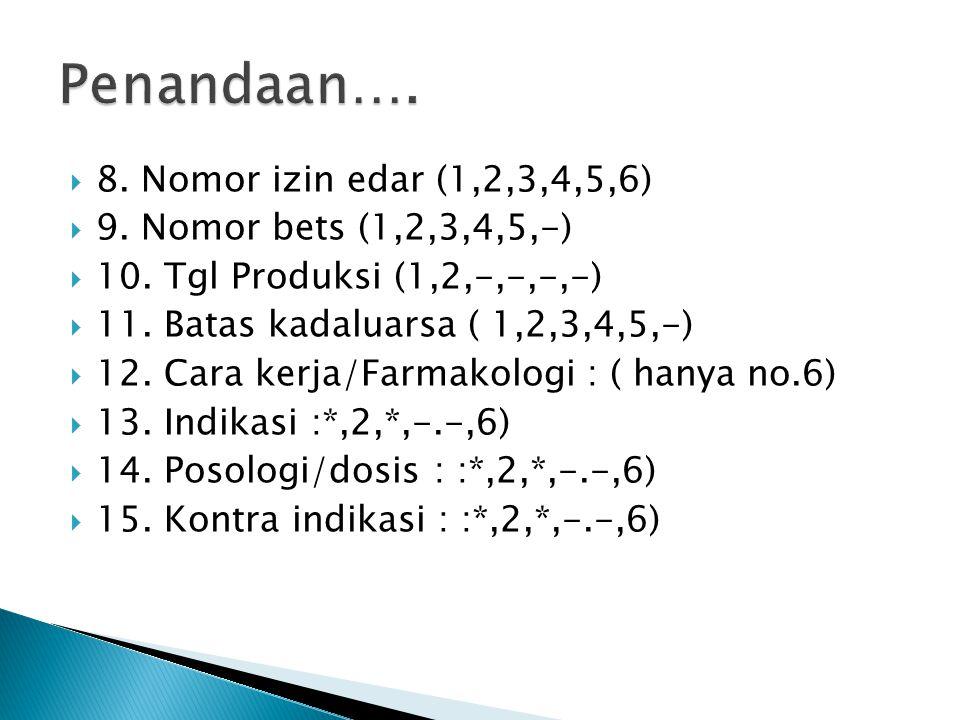 Penandaan…. 8. Nomor izin edar (1,2,3,4,5,6)