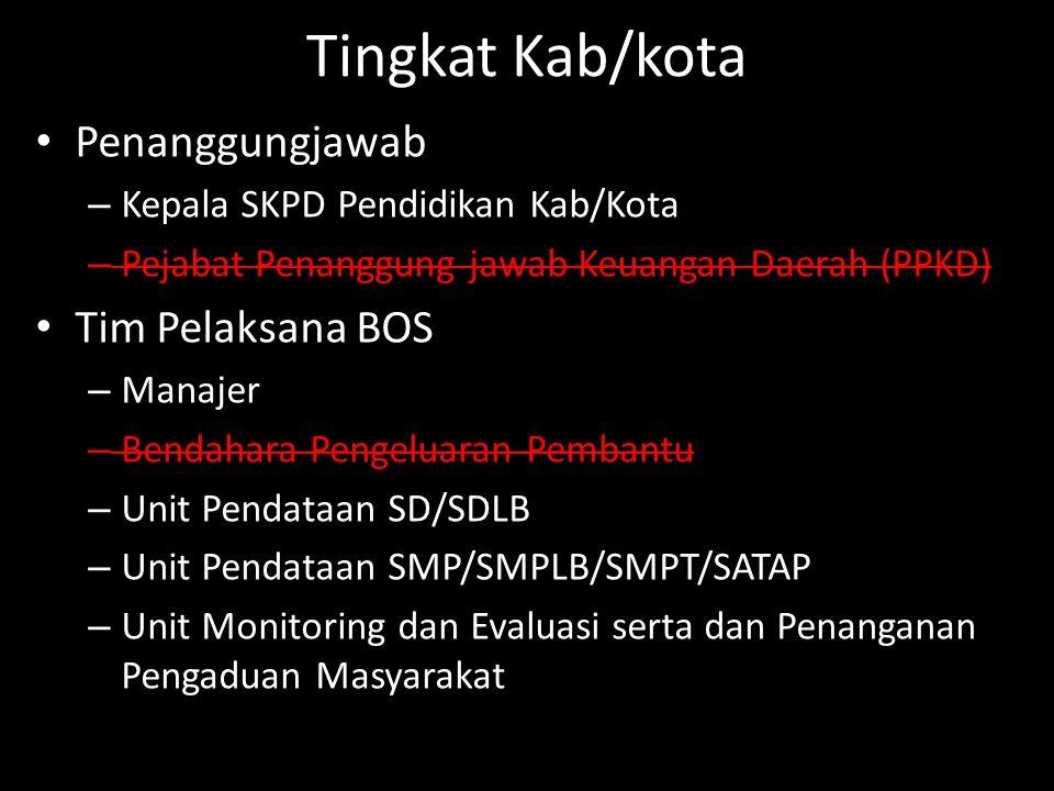 Tingkat Kab/kota Penanggungjawab Tim Pelaksana BOS