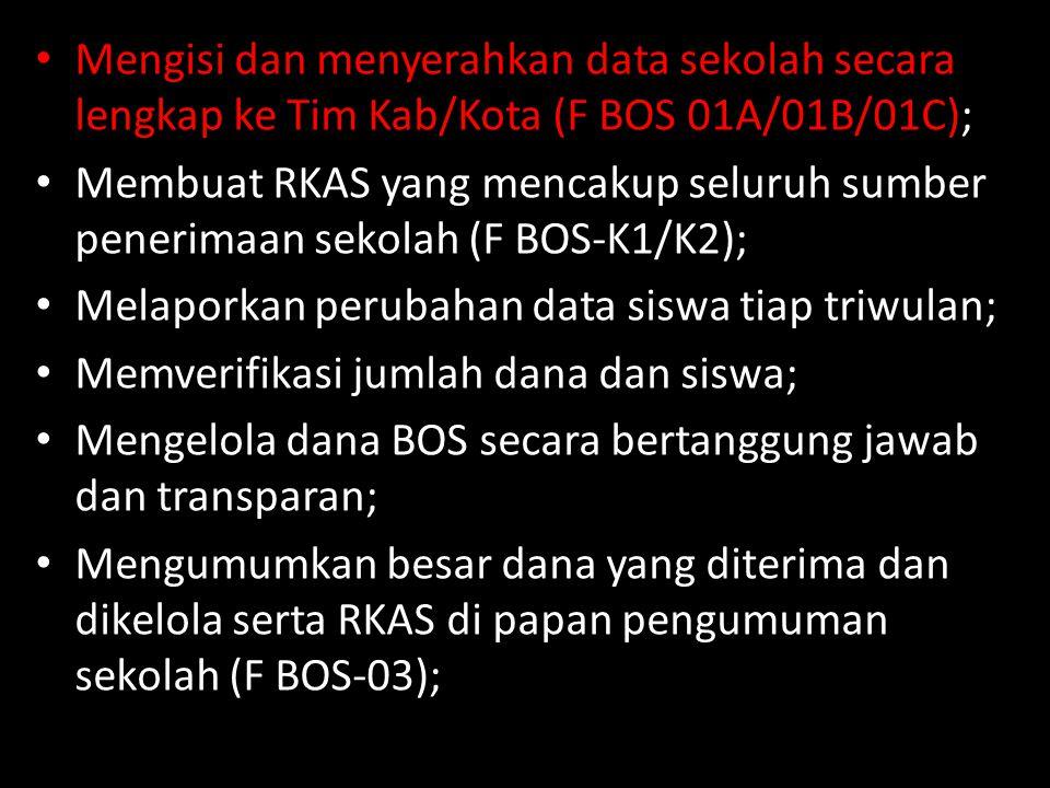 Mengisi dan menyerahkan data sekolah secara lengkap ke Tim Kab/Kota (F BOS 01A/01B/01C);