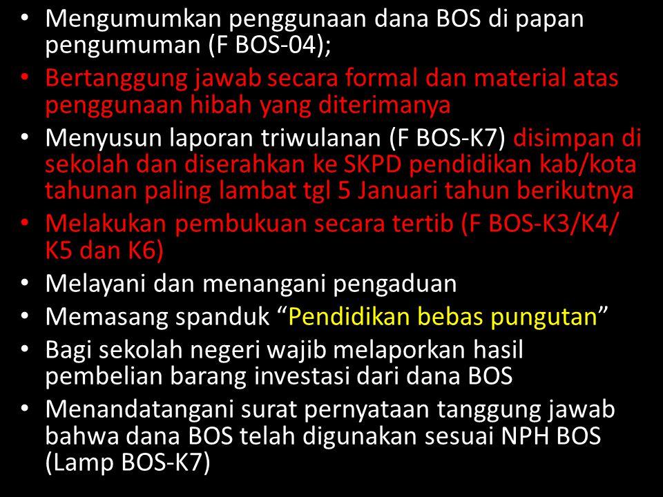 Mengumumkan penggunaan dana BOS di papan pengumuman (F BOS-04);