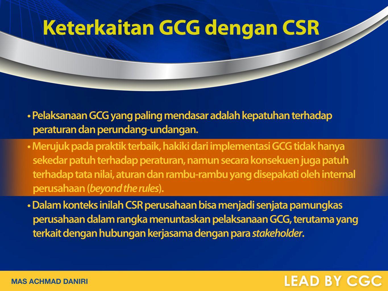 Keterkaitan GCG dengan CSR