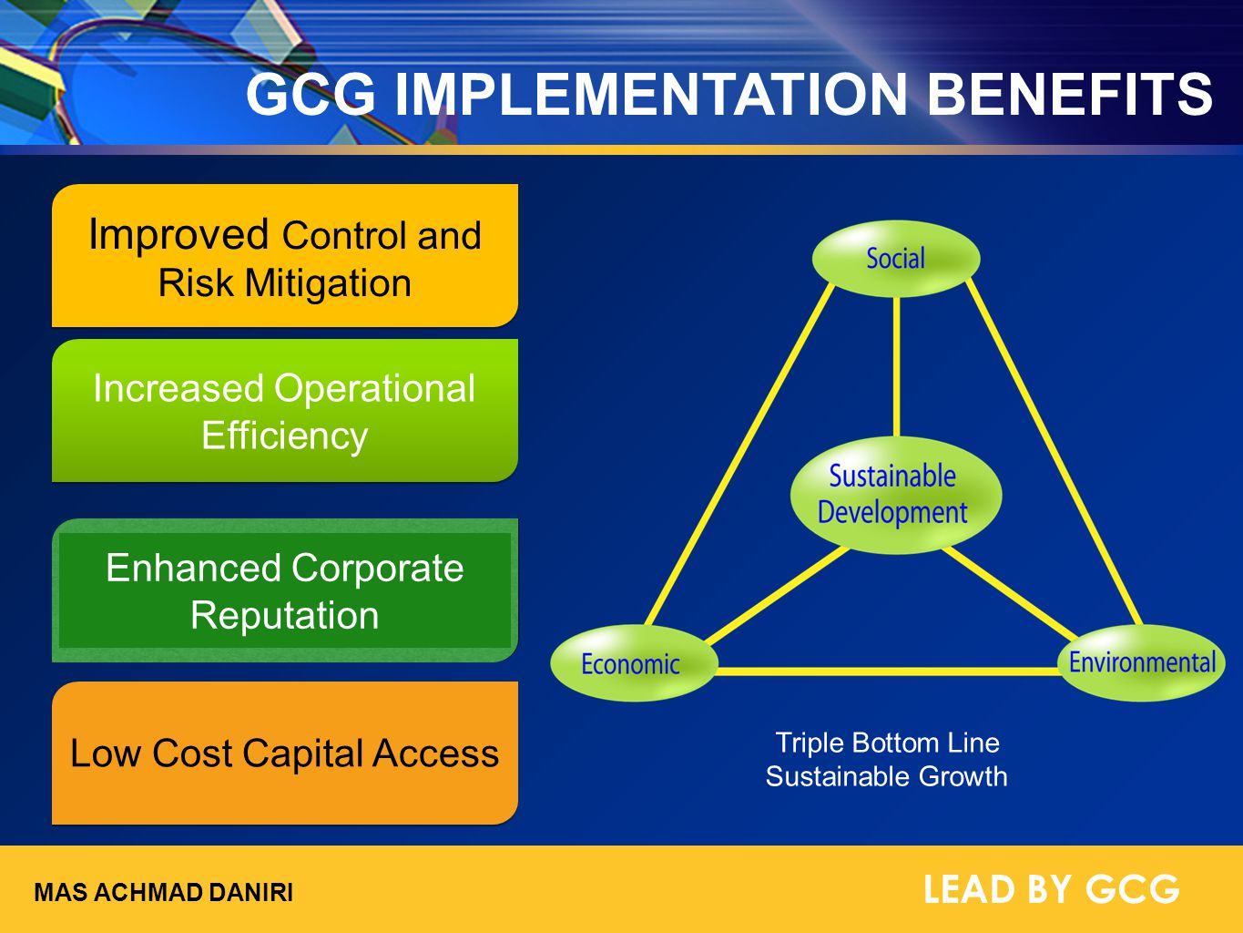 GCG IMPLEMENTATION BENEFITS