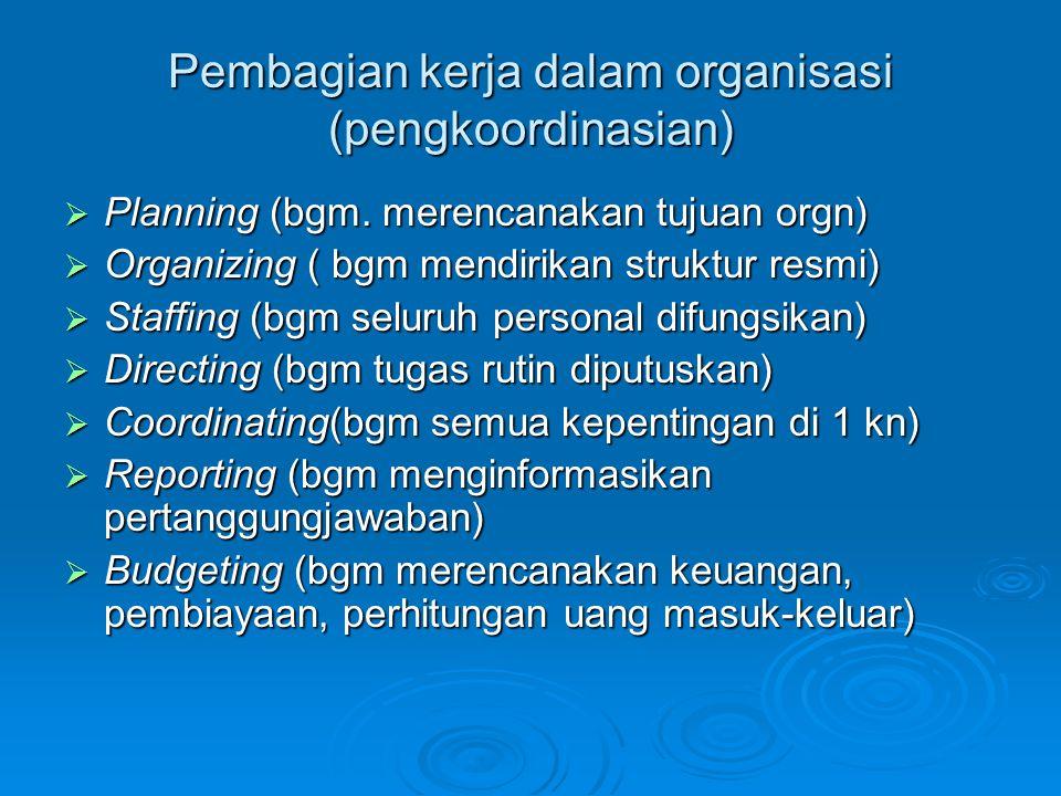 Pembagian kerja dalam organisasi (pengkoordinasian)
