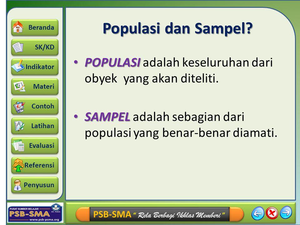 Populasi dan Sampel. POPULASI adalah keseluruhan dari obyek yang akan diteliti.