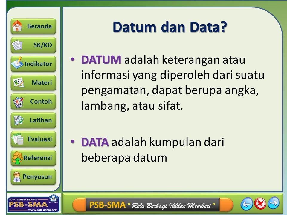 Datum dan Data DATUM adalah keterangan atau informasi yang diperoleh dari suatu pengamatan, dapat berupa angka, lambang, atau sifat.