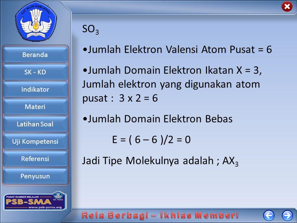 SO3 Jumlah Elektron Valensi Atom Pusat = 6. Jumlah Domain Elektron Ikatan X = 3, Jumlah elektron yang digunakan atom pusat : 3 x 2 = 6.