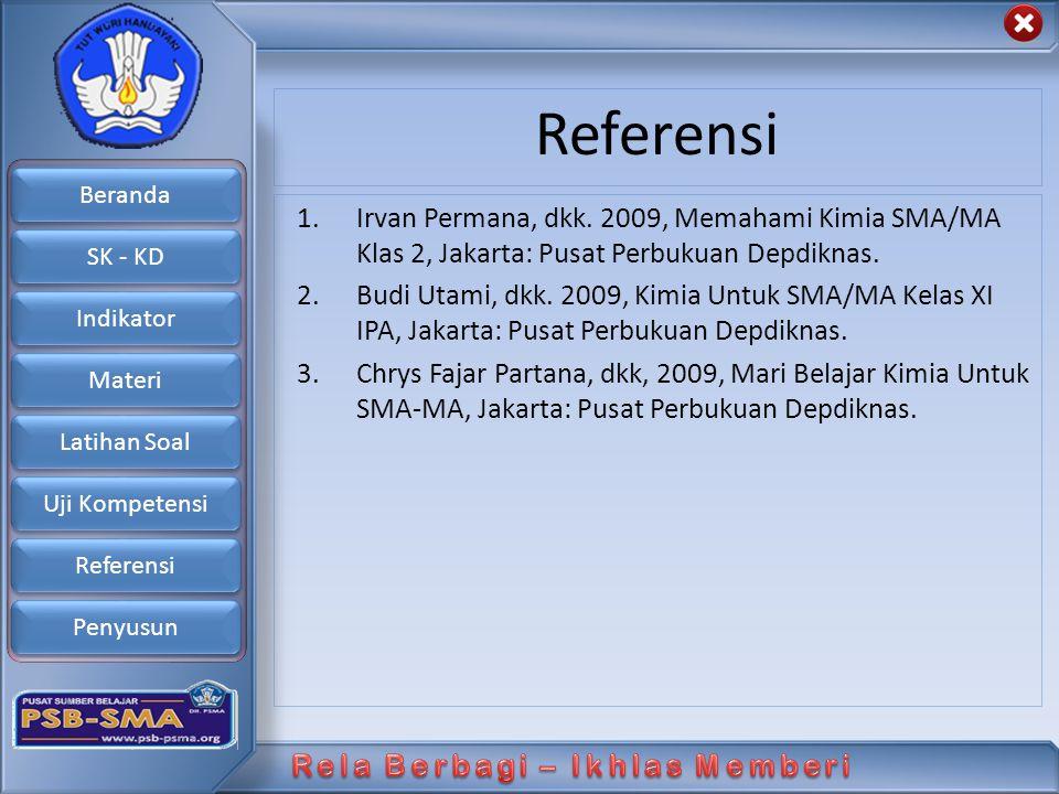 Referensi Irvan Permana, dkk. 2009, Memahami Kimia SMA/MA Klas 2, Jakarta: Pusat Perbukuan Depdiknas.