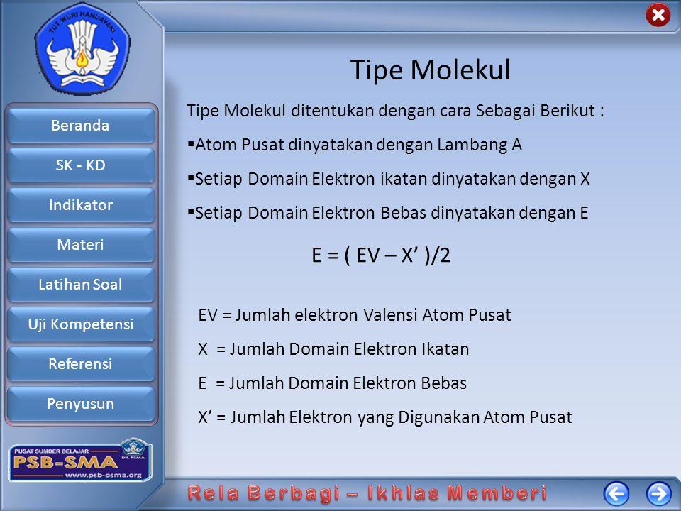 Tipe Molekul E = ( EV – X' )/2