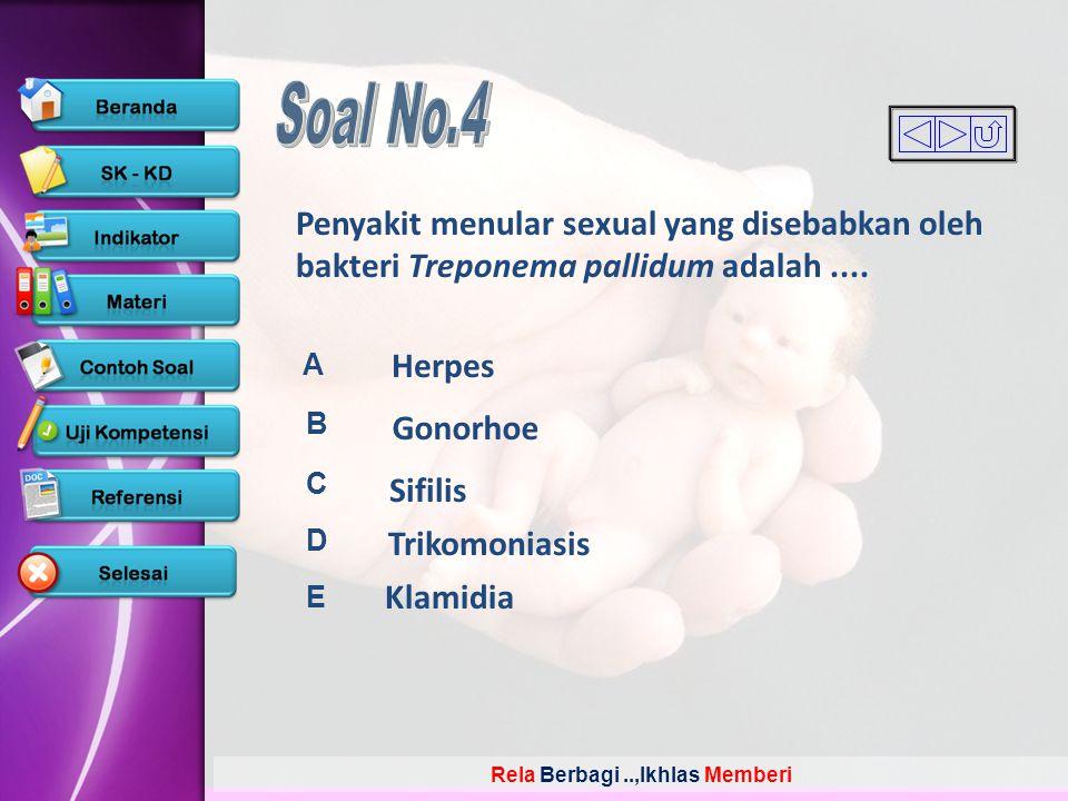 Soal No.4 Penyakit menular sexual yang disebabkan oleh bakteri Treponema pallidum adalah .... A. B.