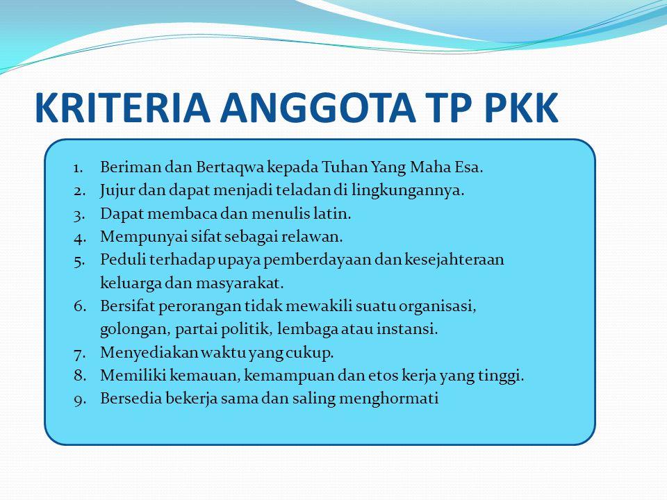 KRITERIA ANGGOTA TP PKK