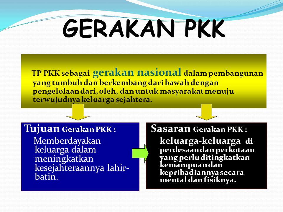 GERAKAN PKK Tujuan Gerakan PKK :