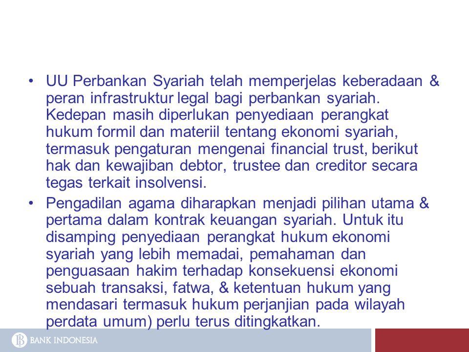 UU Perbankan Syariah telah memperjelas keberadaan & peran infrastruktur legal bagi perbankan syariah. Kedepan masih diperlukan penyediaan perangkat hukum formil dan materiil tentang ekonomi syariah, termasuk pengaturan mengenai financial trust, berikut hak dan kewajiban debtor, trustee dan creditor secara tegas terkait insolvensi.