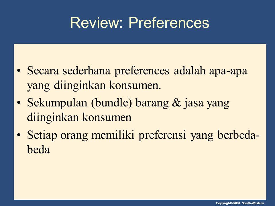 Review: Preferences Secara sederhana preferences adalah apa-apa yang diinginkan konsumen. Sekumpulan (bundle) barang & jasa yang diinginkan konsumen.