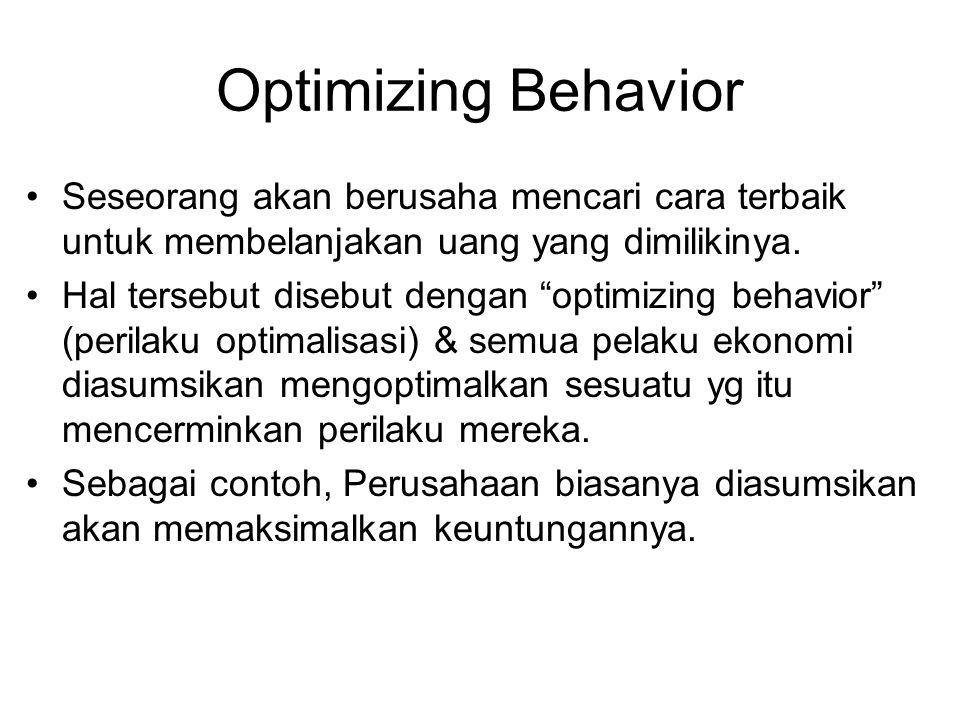 Optimizing Behavior Seseorang akan berusaha mencari cara terbaik untuk membelanjakan uang yang dimilikinya.