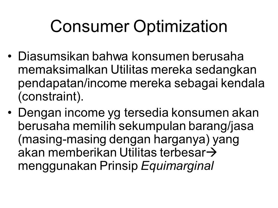 Consumer Optimization
